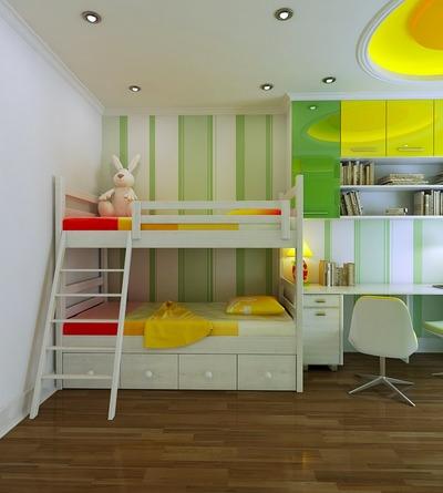 2段ベッドのあるカラフルでシンプルな子供部屋_[0].jpg